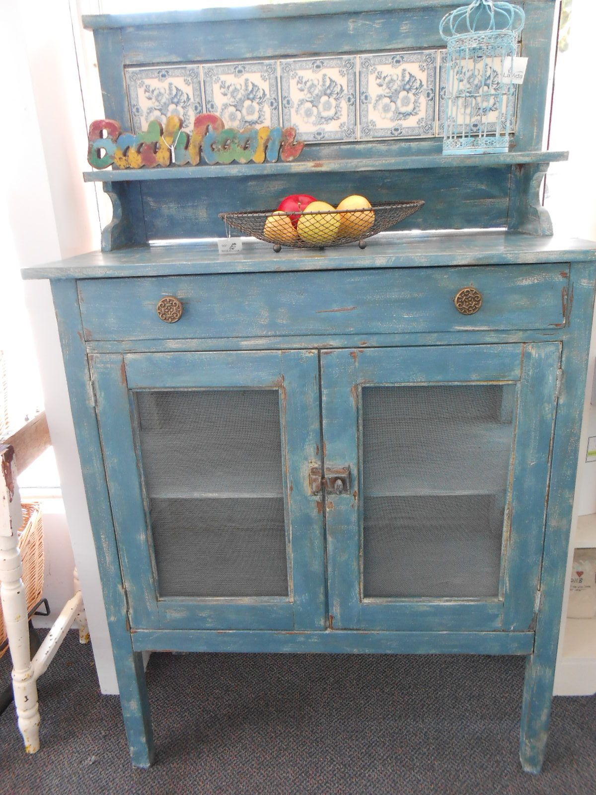 1930\'s Meat Safe -Painted in Cream and Anbusson, using both clear ...