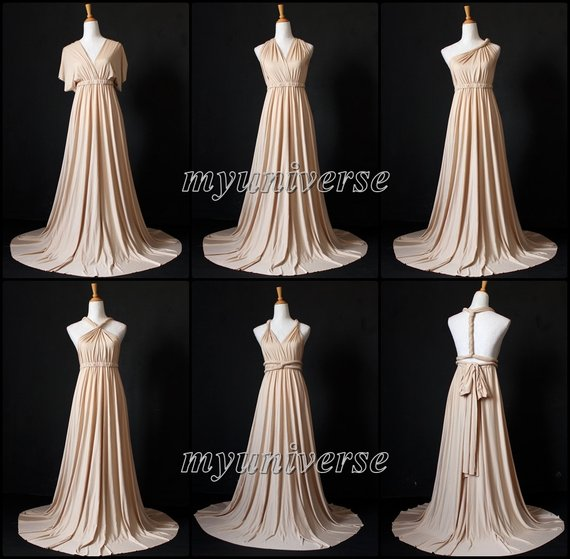 1cc29a3c02 Champagne Bridesmaid Dress Wrap Convertible Dress Infinity Dress Maxi Dress  Wedding Dress Plus Size