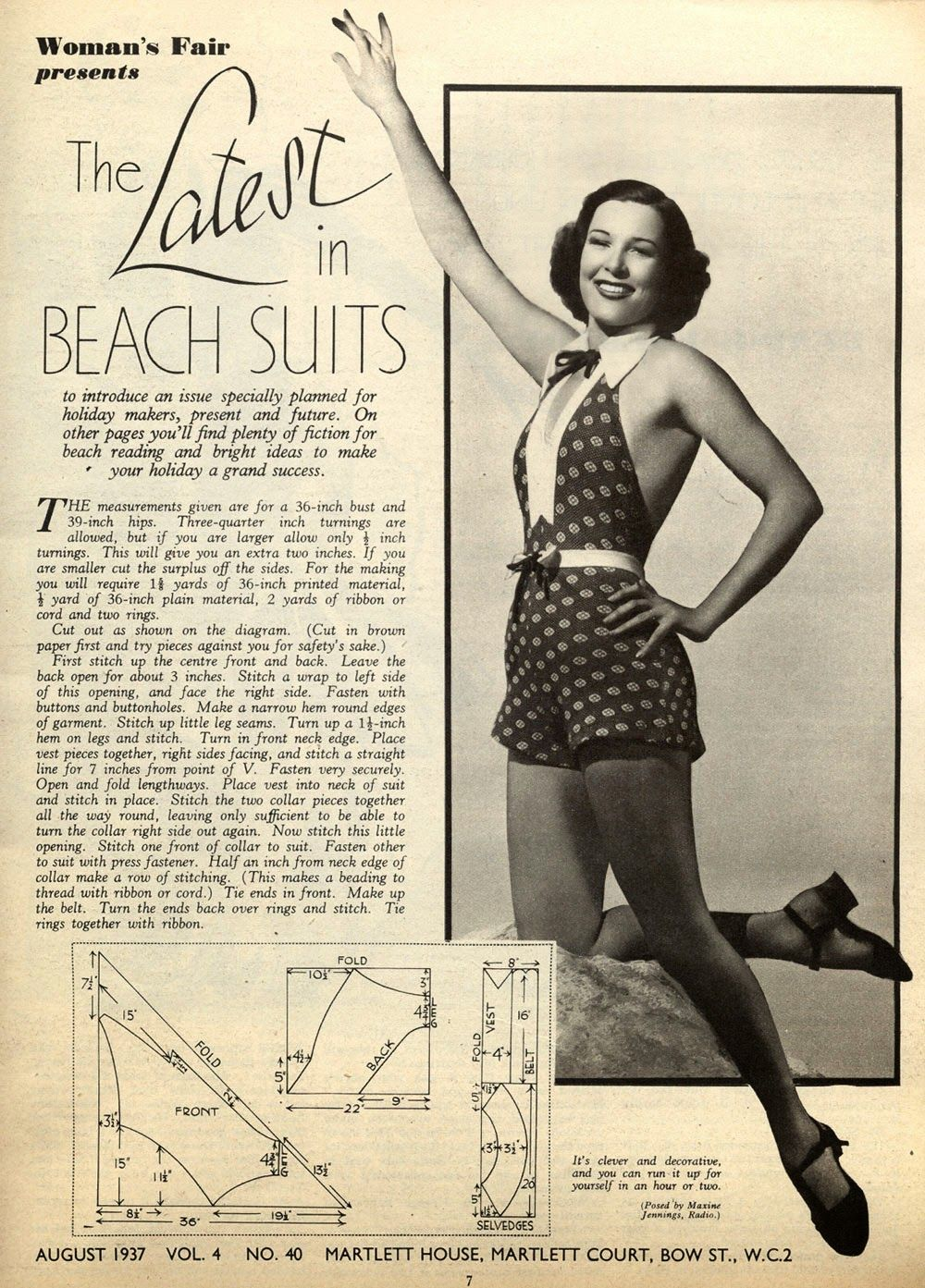 It's the latest in beach (swim) suits! #vintage #1930s #1940s #swimsuits #beach