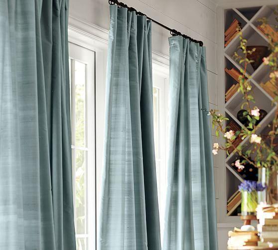 Dupioni Silk Rod Pocket Curtain Brownstone Silk Drapes Curtains Living Room Custom Drapes