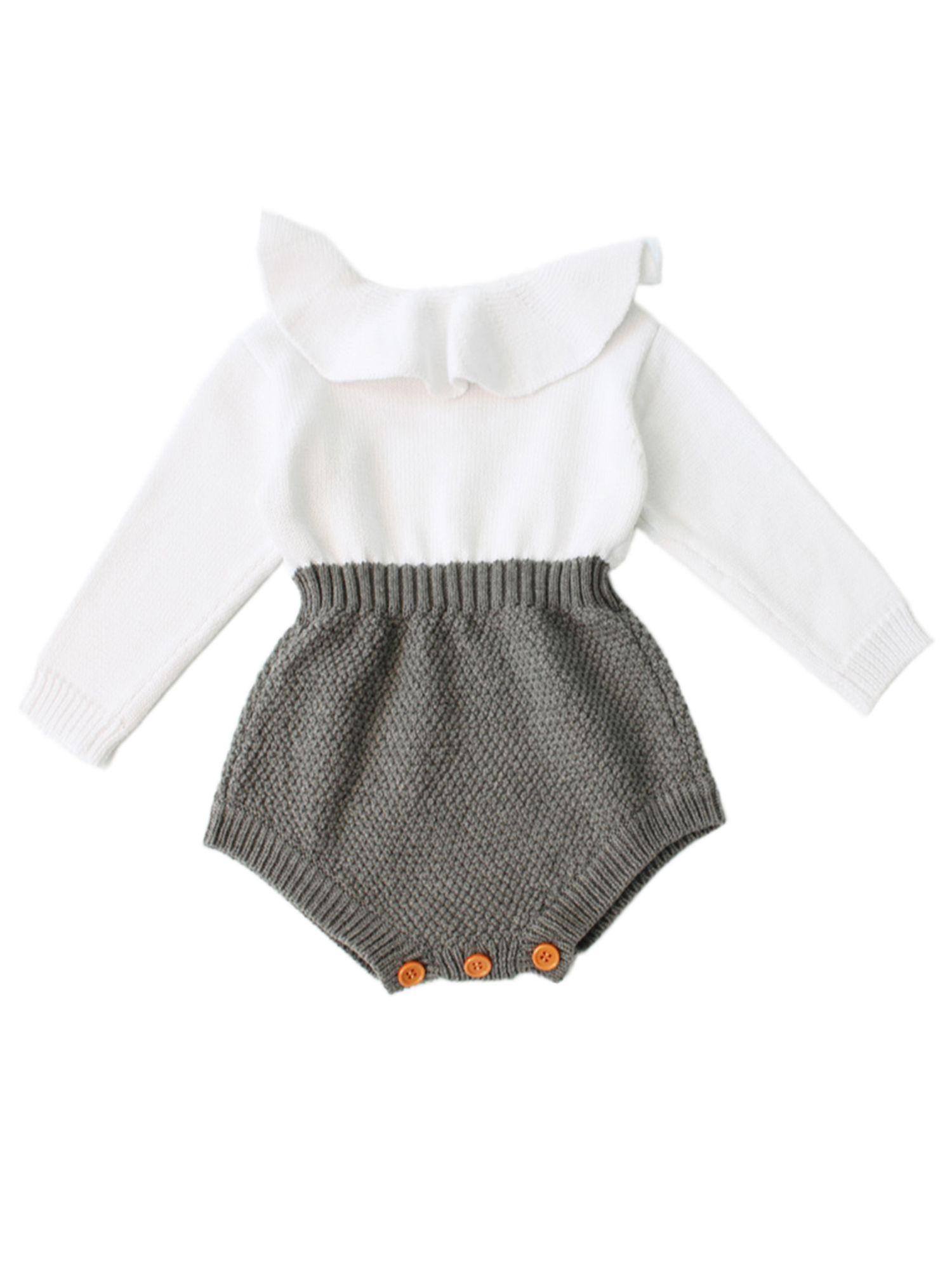 Photo of StylesILove – StylesILove Baby Girl Autumn Knitted Ruffle Long Sleeve Princess Jumpsuit Romper (70/3-6 Months) – Walmart.com