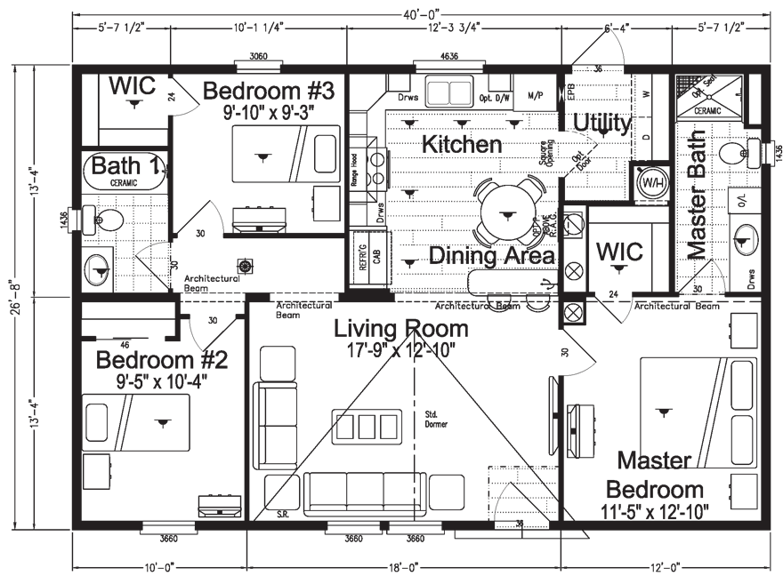 Sand Sea 27 X 40 Double Wide New Mobile Homes Mobile Home Floor Plans House Floor Plans
