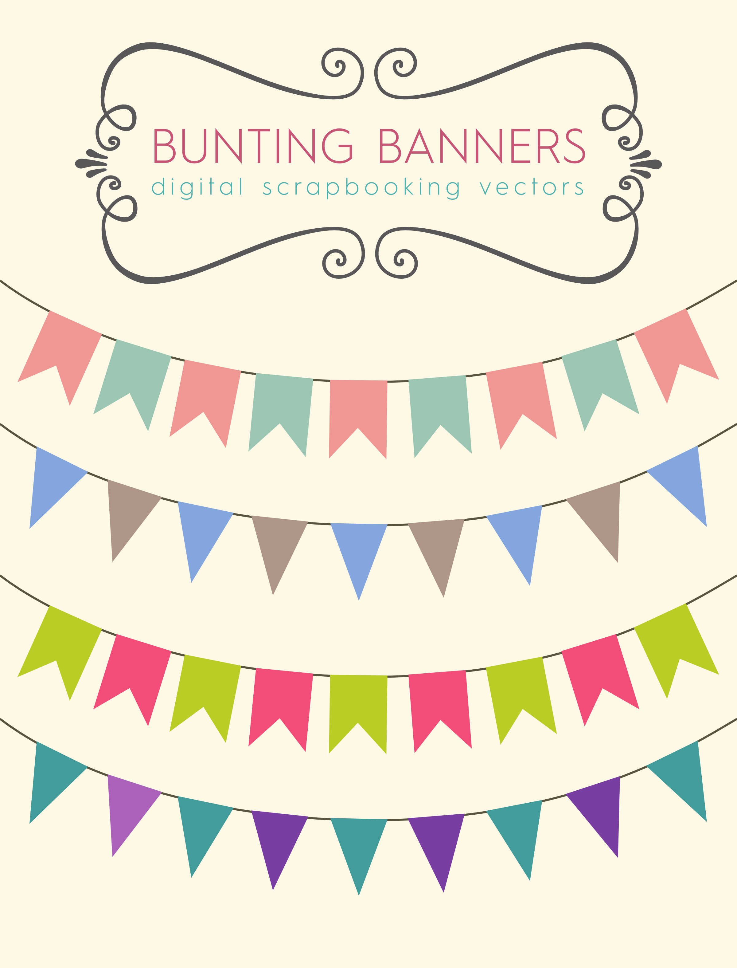 Download These Bunting Banners To Use For Your Party Printables Blog Or Scrapbooking Designs Ive Made A Free Stock Vector File As Well