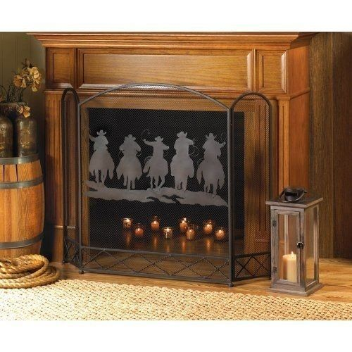 Rustic Western Fireplace Screen Folk Art Mesh Panels Cowboys Horses