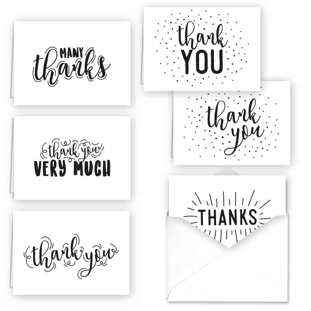 36ct typography thank you assortment card set in 2020