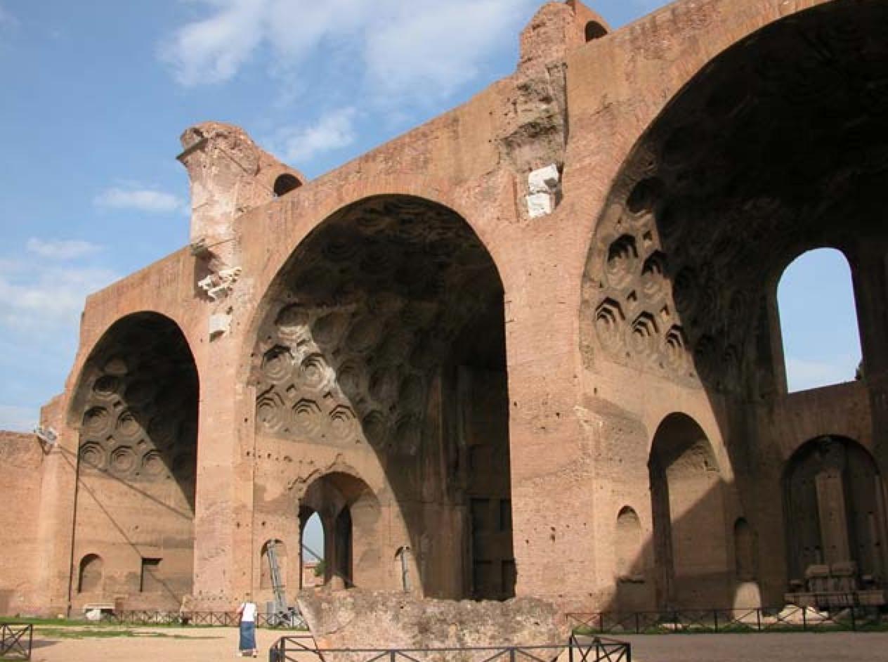 Another view of the tri-dome structure of Rome's Basilica di Massenzio (Picture source: RaiNews24).
