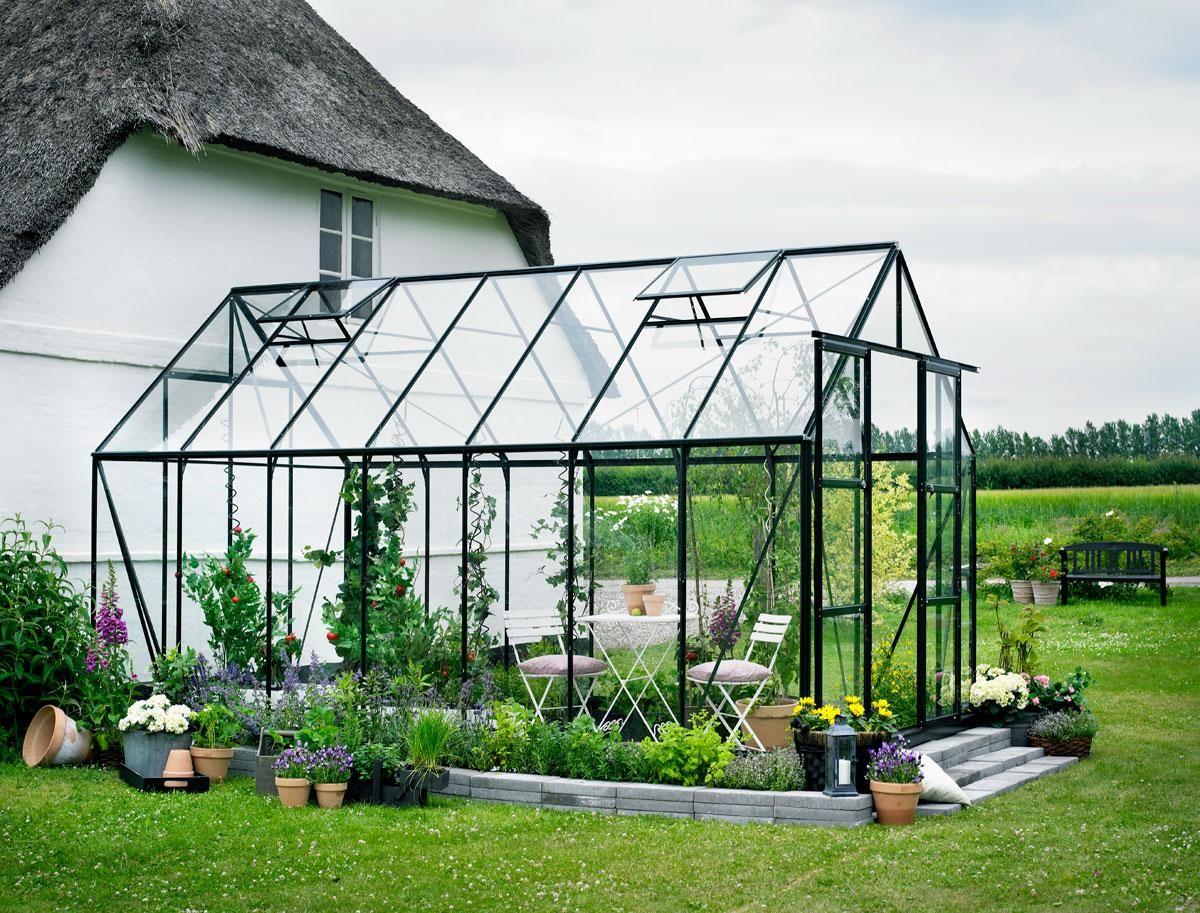 Serre de jardin Magnum 11.5m² en aluminium et verre trempé 3mm ...