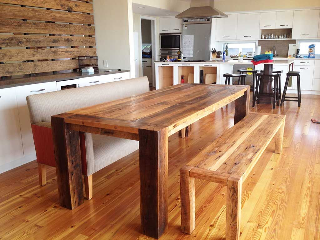 Dining Room Wonderful Reclaimed Long Wooden Melamine Table With Bench Set Also Wide