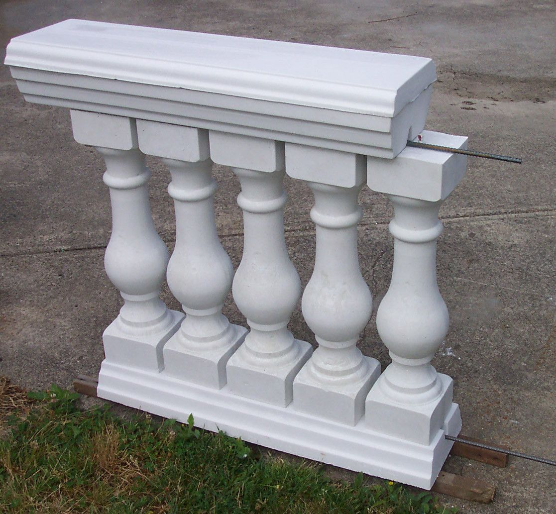 6 piece baluster railing concrete mold set concrete for Concrete patio railing
