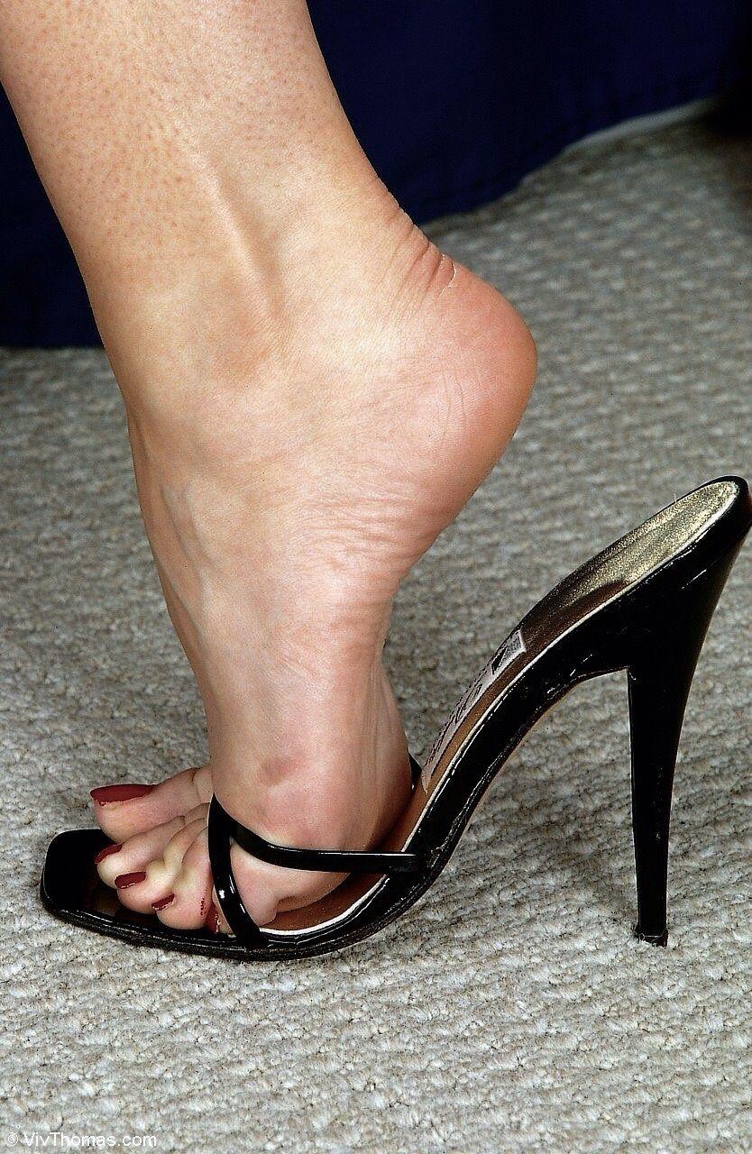 Dangling high heels mules tgp right!