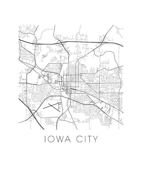 Iowa City Map Black And White Print Iowa Black And White Map Print