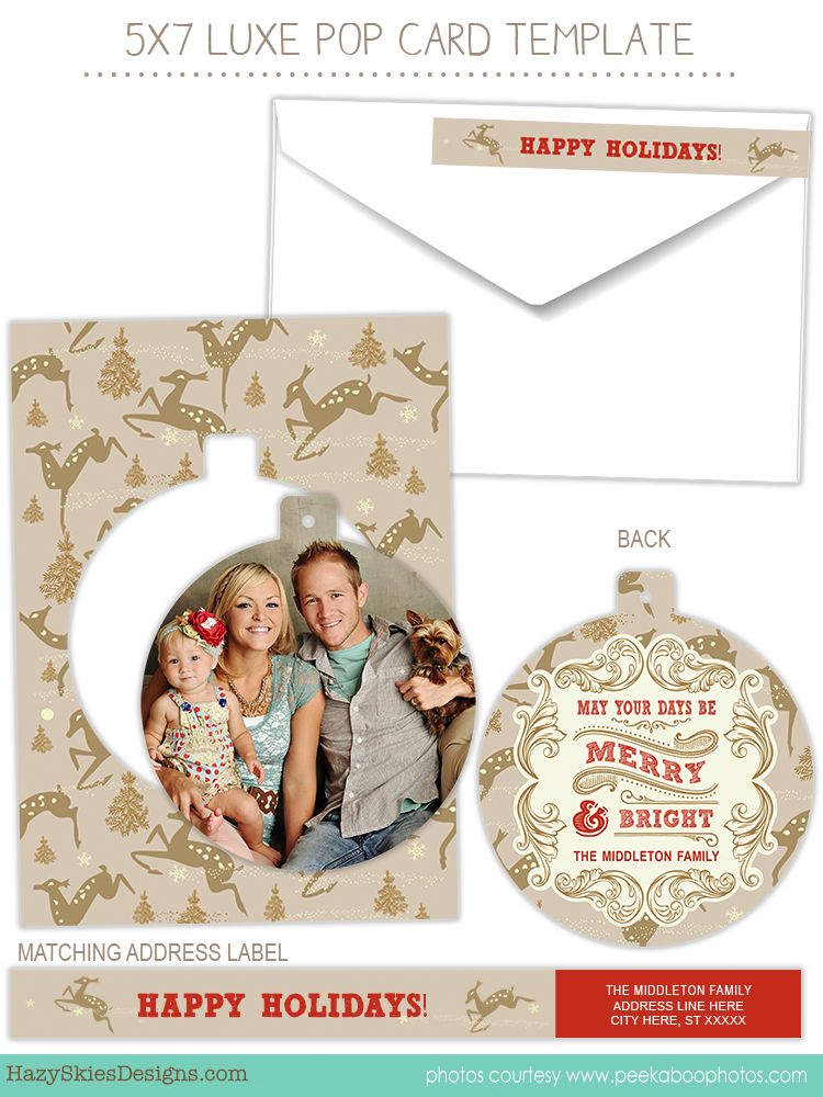 Luxe Pop Card Templates For Photographers Luxe Pop Card Template Christmas Holiday Ph Holiday Card Template Christmas Card Template Photo Card Template
