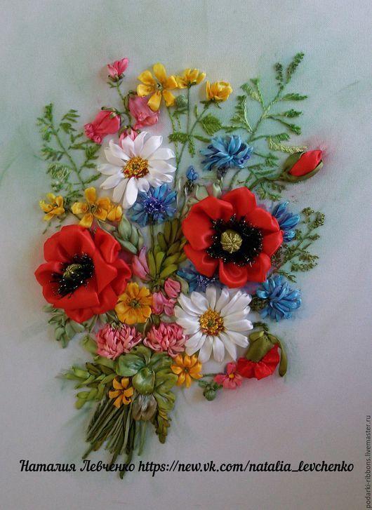 Вышивка лентами. Картина «Полевые цветы». Часть 1 75