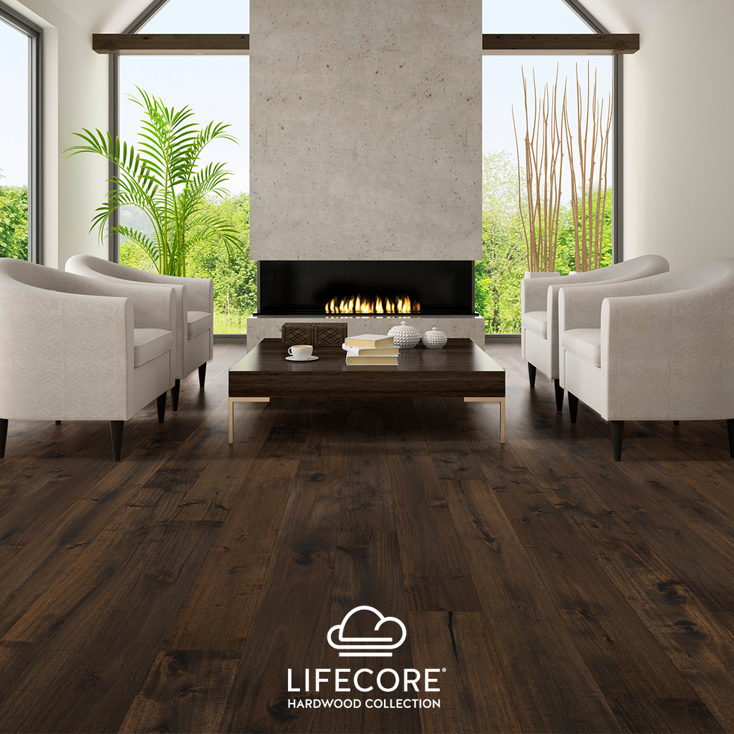 Give Your Home A High End Design Look With Dark Wood Floors Like Lifecore Abella Luxe Acacia Engineered Hardw Acacia Hardwood Flooring Hardwood Floors Hardwood