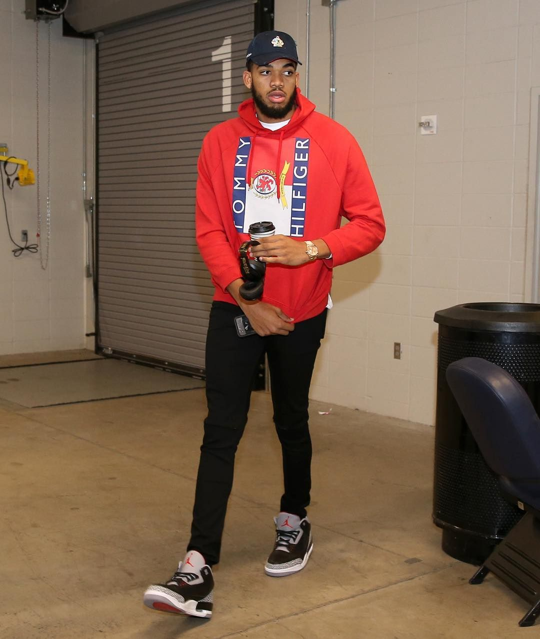 "887023702a44 Complex Sneakers on Instagram  "" karltowns in ""Black Cement"" Air Jordan 3s.  📸   david sherman"""