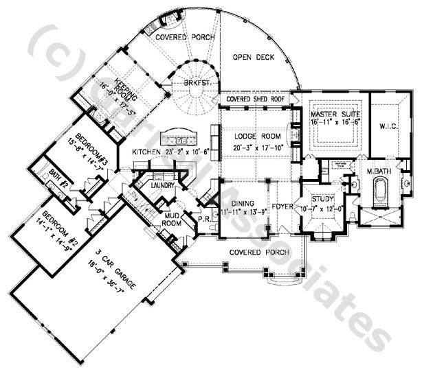 Amicalola Cottage House Plan # 06221, 1st Floor Plan, Craftsman ...