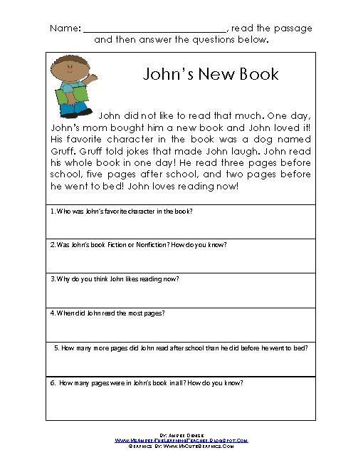Kids Comprehension Comprehension Worksheets Worksheets For Kids Comprehension Comprehension worksheets for grade 5