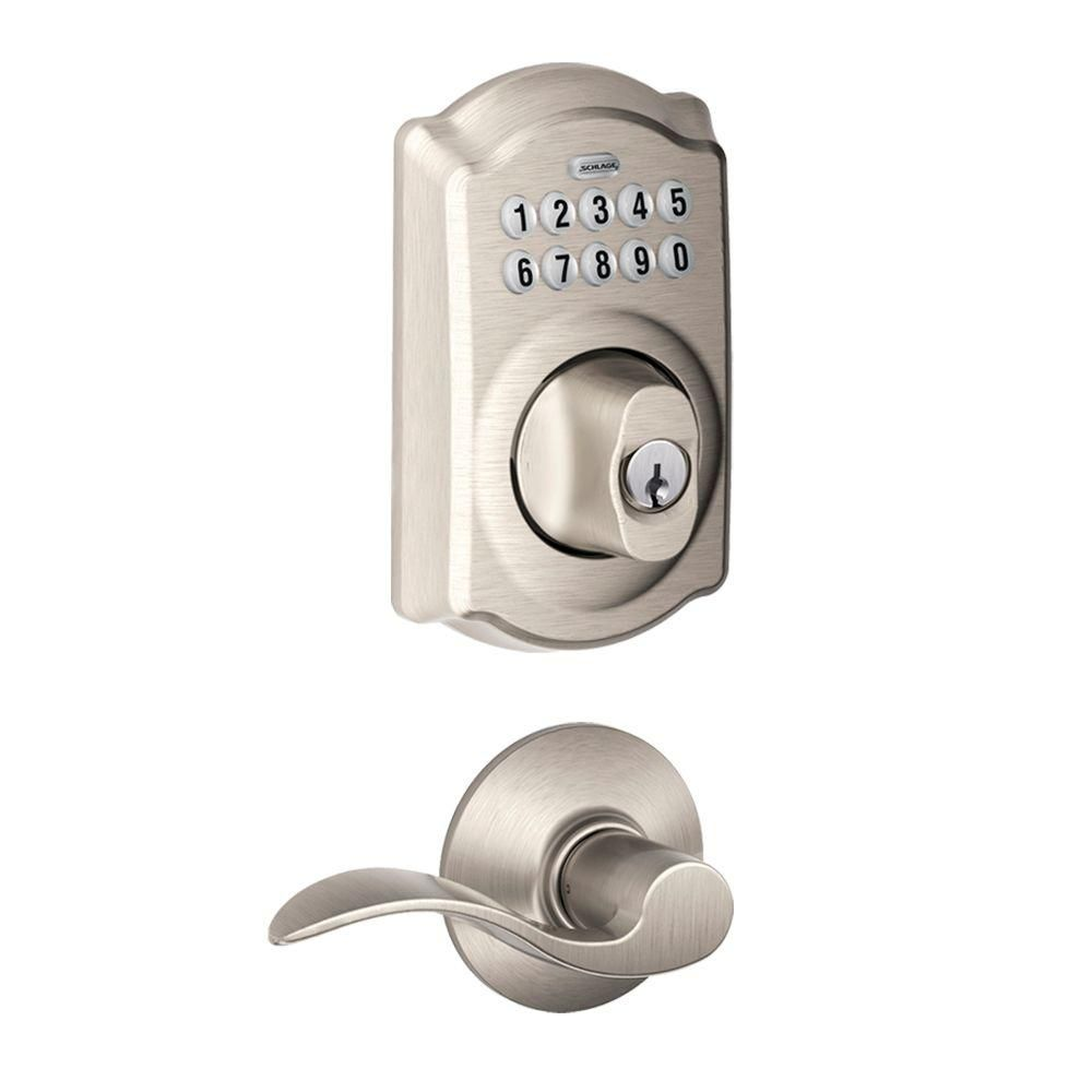 Schlage Camelot Satin Nickel Keypad Combo Pack with Accent Lever-FBE365 V CAM 619 ACC - The Home Depot