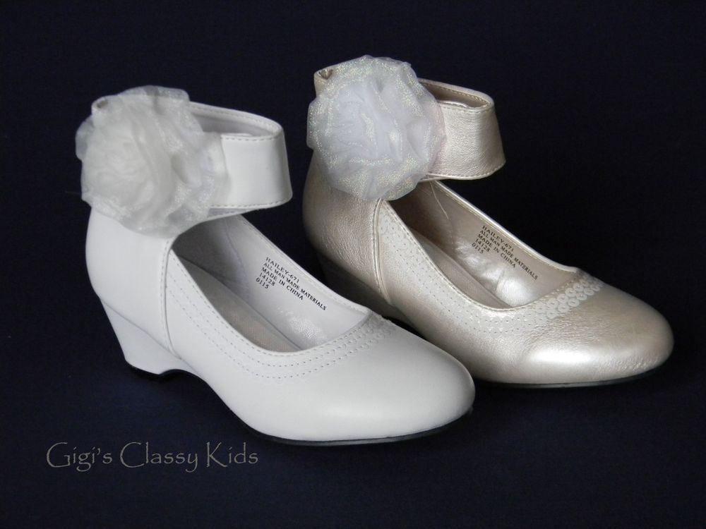 new white or ivory girls wedges dress shoes kids toddler youth party pageant dressshoes