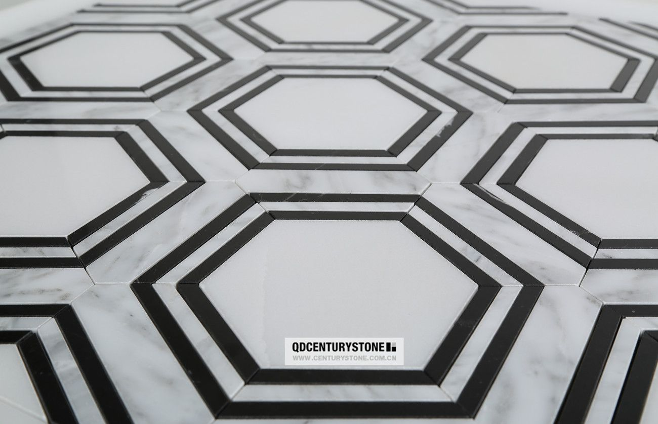 Waterjet tiles marble pattern floor design buy marble pattern black and white marble hexagon mosaic indoor wall tile decorative stone dailygadgetfo Choice Image