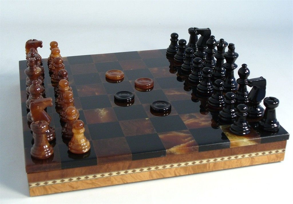 What an impressive set for Dad or Graduate! The Game Supply - Black & Brown Alabaster Set with Inlaid Chest, $440.00. Ships FREE Ground in Cont. U.S. PLUS 10% off, use code CUSTOMER REWARD at checkout on all orders $99 and up. #alabasterchesssets