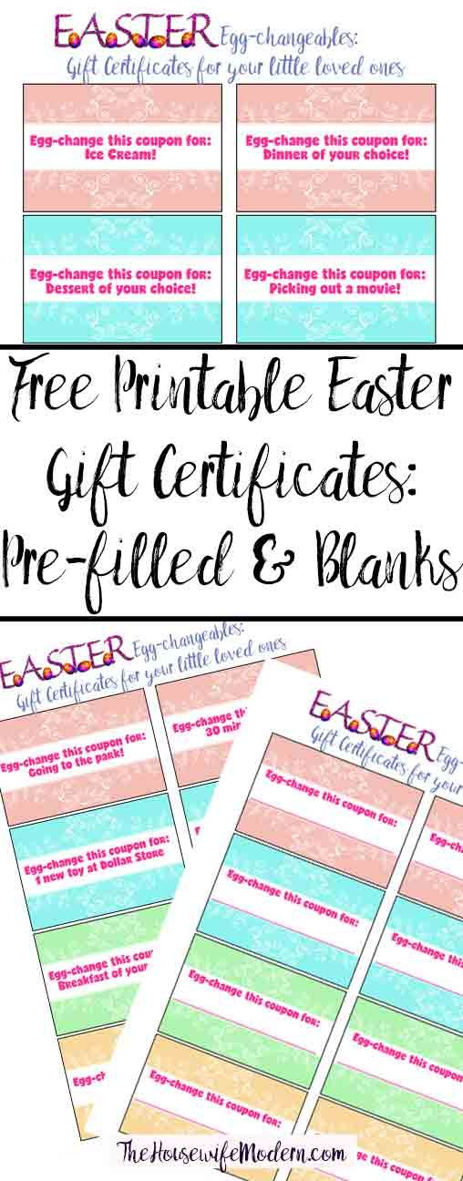 Free printable easter gift certificates for kids pinterest free printable easter gift certificates for kids pinterest easter hunt gift certificates and easter baskets negle Images