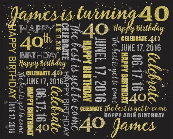 40th Birthday Party backdrop, Gold, Silver and Black, Dessert