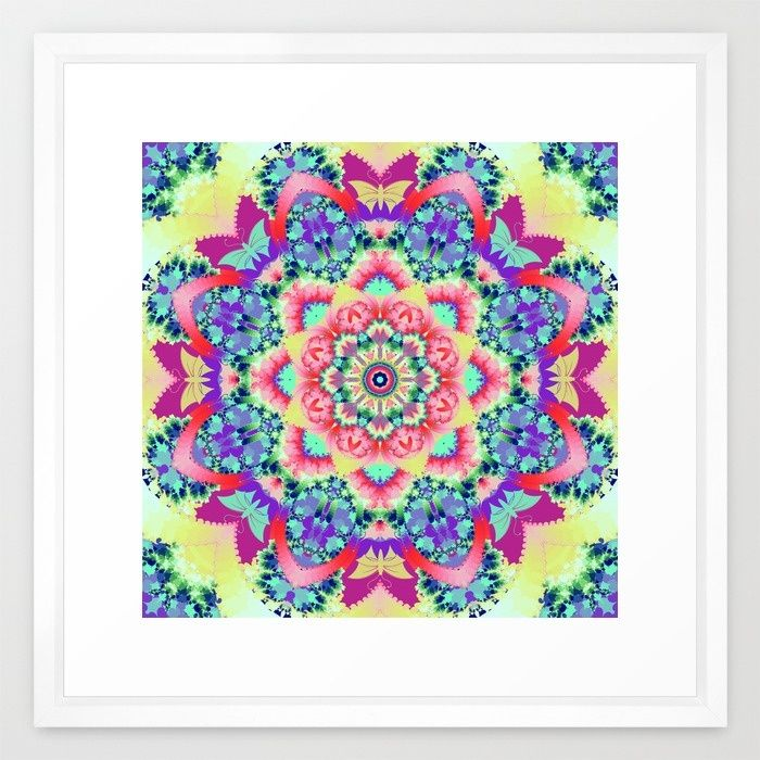 Whimsical floral kaleidoscope with butterflies Framed Art Print