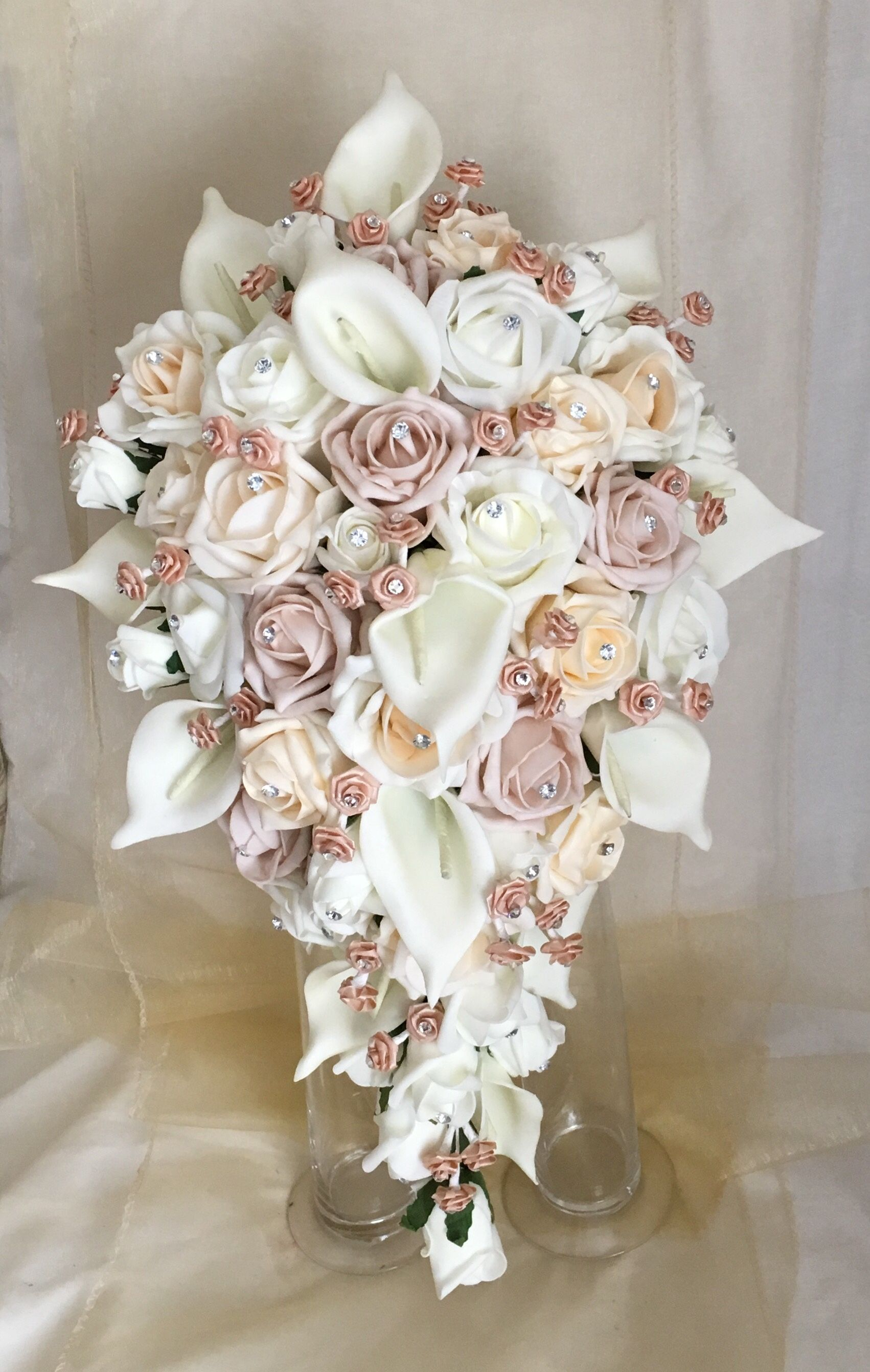Artificial flowers tear drop wedding bouquet made with