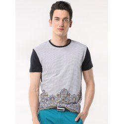 SHARE & Get it FREE | Printed Pinstriped Spliced Round Neck Short Sleeve T-Shirt ODM DesignerFor Fashion Lovers only:80,000+ Items • FREE SHIPPING Join Twinkledeals: Get YOUR $50 NOW!