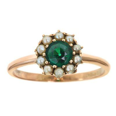 Victorian Emerald and Seed Pearl Ring