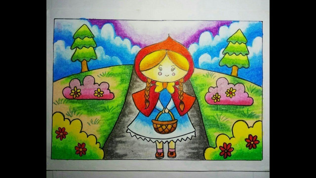Cara Menggambar Dan Mewarnai Gradasi Crayon Gadis Berkerudung