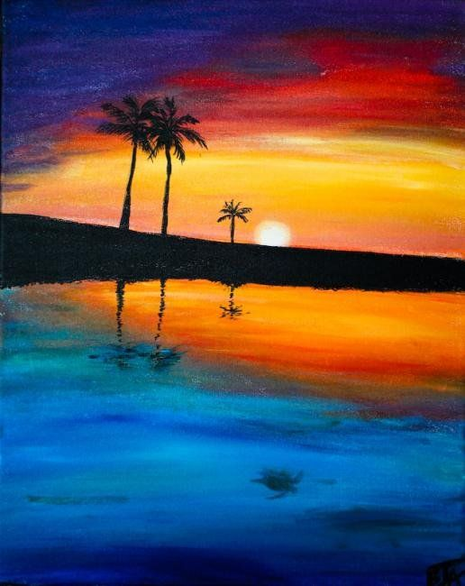 How To Paint A Red Sun At Sunset Using Acrylic Paint On Canvas Art 3000 Picture Sunset Seascape Acr Sunset Painting Acrylic Beach Painting Sunset Painting