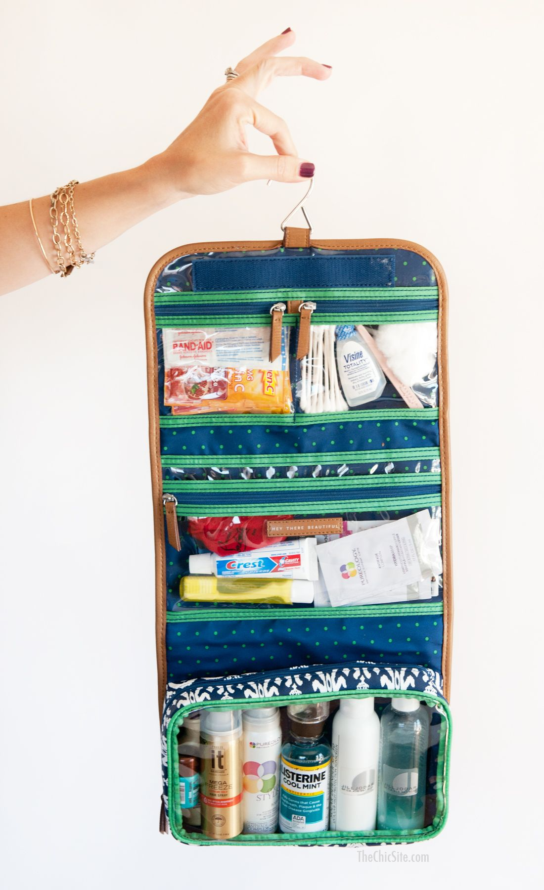 Stella and Dot Toiletry Bag ~ What to pack in your overnight bag for traveling http://thechicsite.com/2014/07/21/toiletry-bag BUY NOW at www.stelladot.com/chantallevy