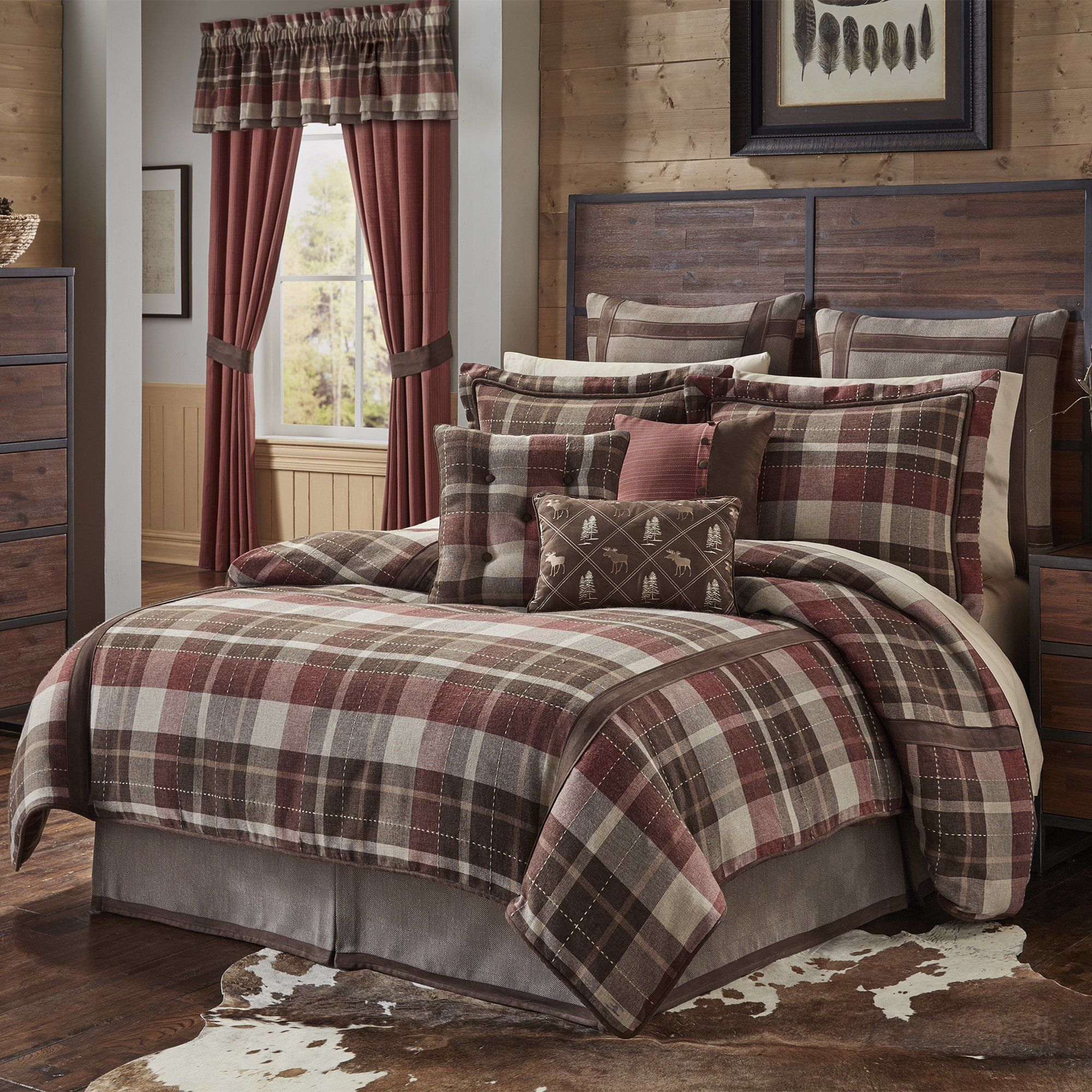 4 Piece Brown Tan Red Plaid Comforter King Set Cabin Themed Bedding Ivory Tartan Pattern Madras Southwest Western Plaid Comforter Comforter Sets Plaid Bedding