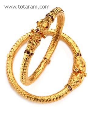 22 Karat Gold Kada with Ruby - 1 Pair - GK134 - Indian Jewelry from Totaram Jewelers