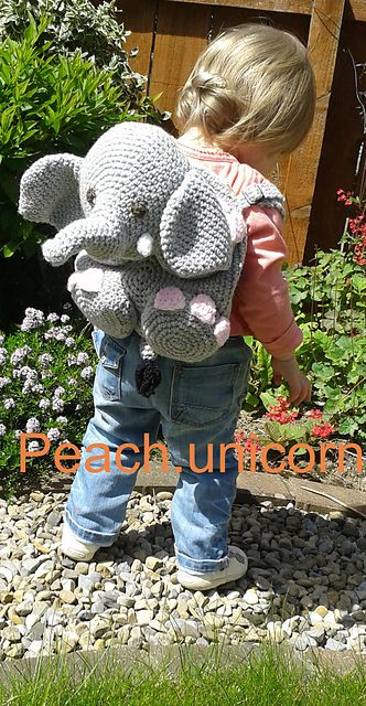 Elephant Kids Amigurumi Backpack Bag Pattern By Peach Unicorn