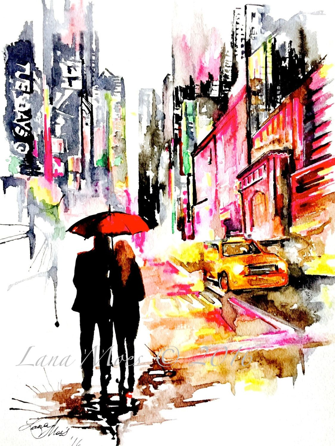 New York City Love Watercolor Painting Wanderlust By Lana Moes