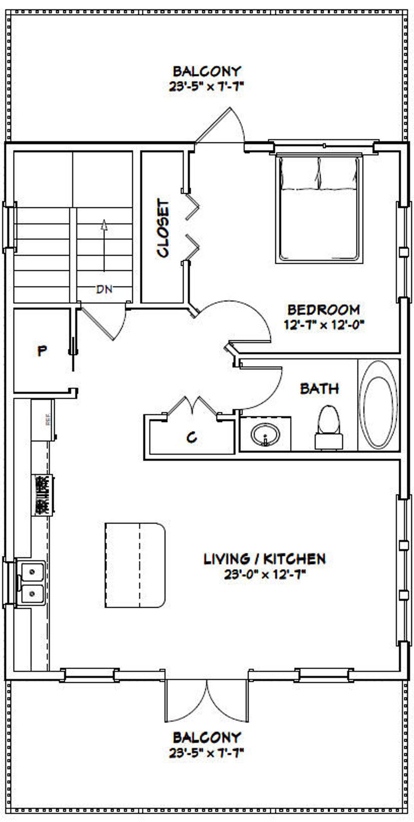 24x32 House 1 Bedroom 1.5 Bath 830 sq ft PDF Floor Etsy