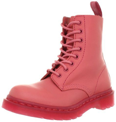 Pink Dr Martens Leather Boots Lace Ladies