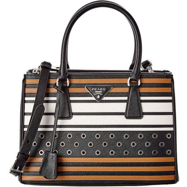 Prada Galleria Stripe Saffiano & Grommet Leather Satchel (392227001) ($2,795) ❤ liked on Polyvore featuring bags, handbags, black, tote handbags, handbags purses, leather tote bags, leather purses and leather satchel purse
