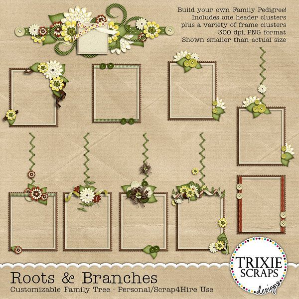 Roots & Branches Digital Scrapbooking Customizable Family Tree ...