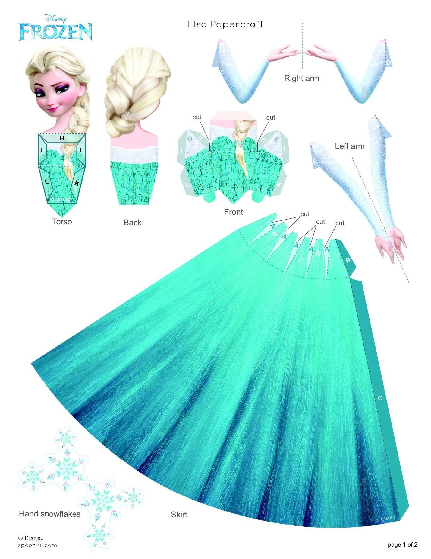 Elsa Papercraft Disney Family Manualidades Disney Princesas Munecas De Papel Disney