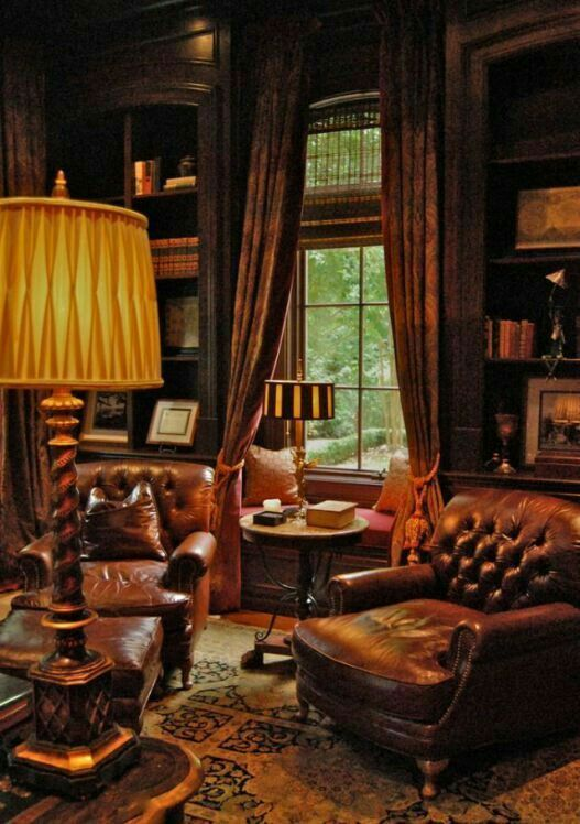 Leather Chairs For The Library Cozy House Home Library
