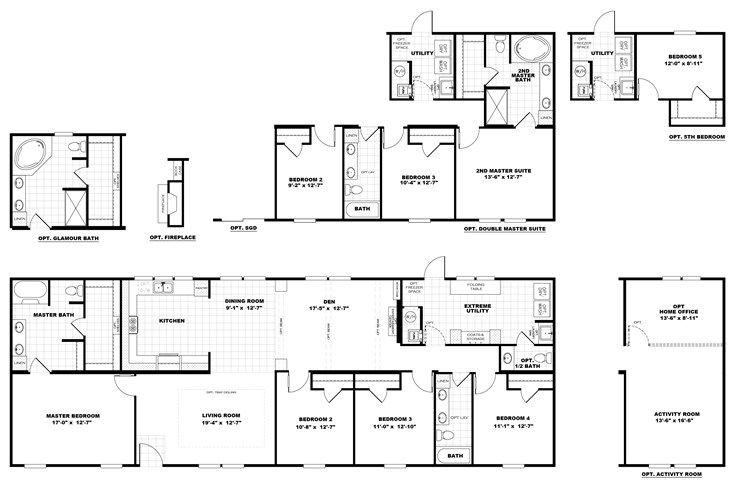 The The Black Jack 2 Floor Plan This Manufactured Mobile Home Features 4 Bedrooms And 2 Baths Manufactured Homes Floor Plans Floor Plans House Floor Plans