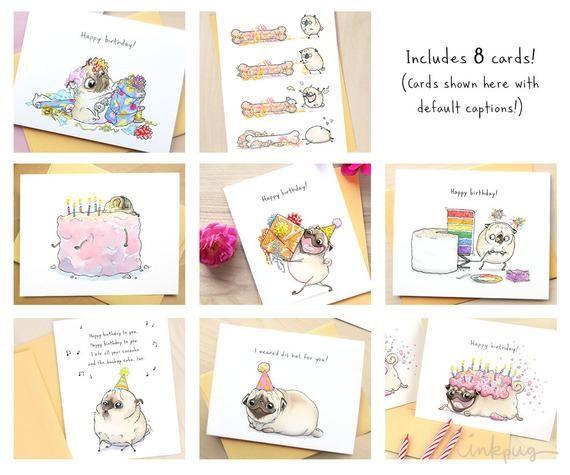 Fawn Pug Birthday Box Of Cards