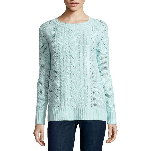 St. John's Bay Crew Neck Pullover Sweater ($36) ❤ liked on Polyvore featuring tops, sweaters, blue pullover, crew neck sweaters, crew neck top, sweater pullover and pullover sweaters