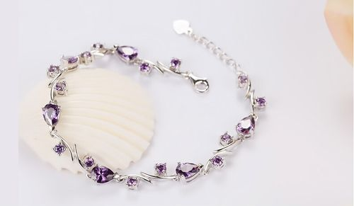 Elegant Fashion 925 Sterling Silver Bracelet, with Violet AAA Zircons, Silver
