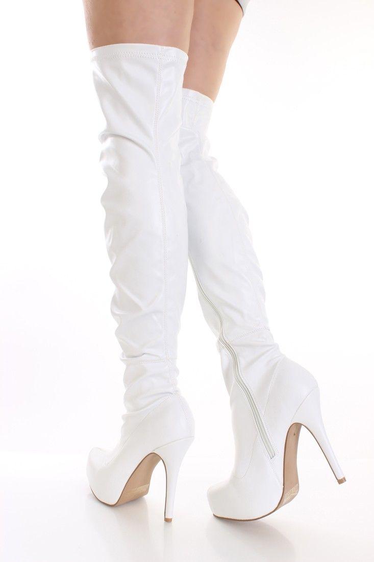 Bianca Faux Pelle Thigh High Stivali  always  Donna scarpe (we always  need 6b1b98