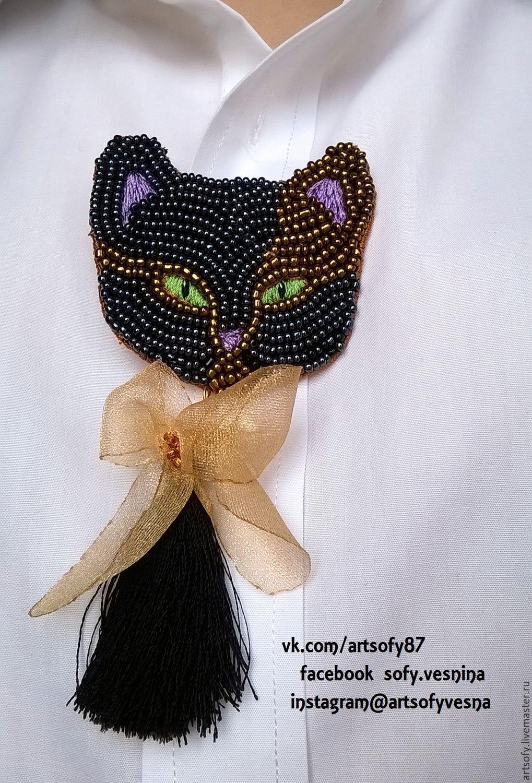 Вышивка бисером кот черный